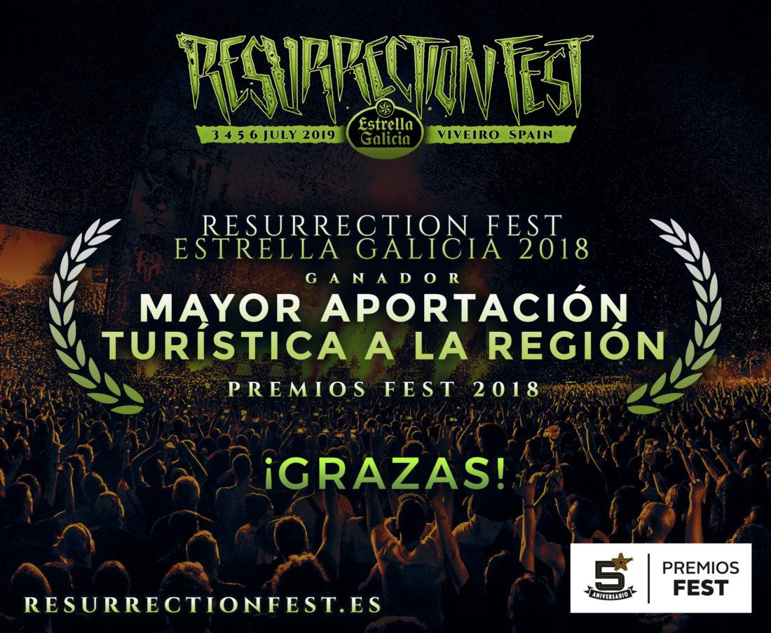 EL RESURRECTION FEST GANA EL PREMIO AL FESTIVAL CON MEJOR APORTACIÓN TURÍSTICA EN LOS PREMIOS FEST 2018