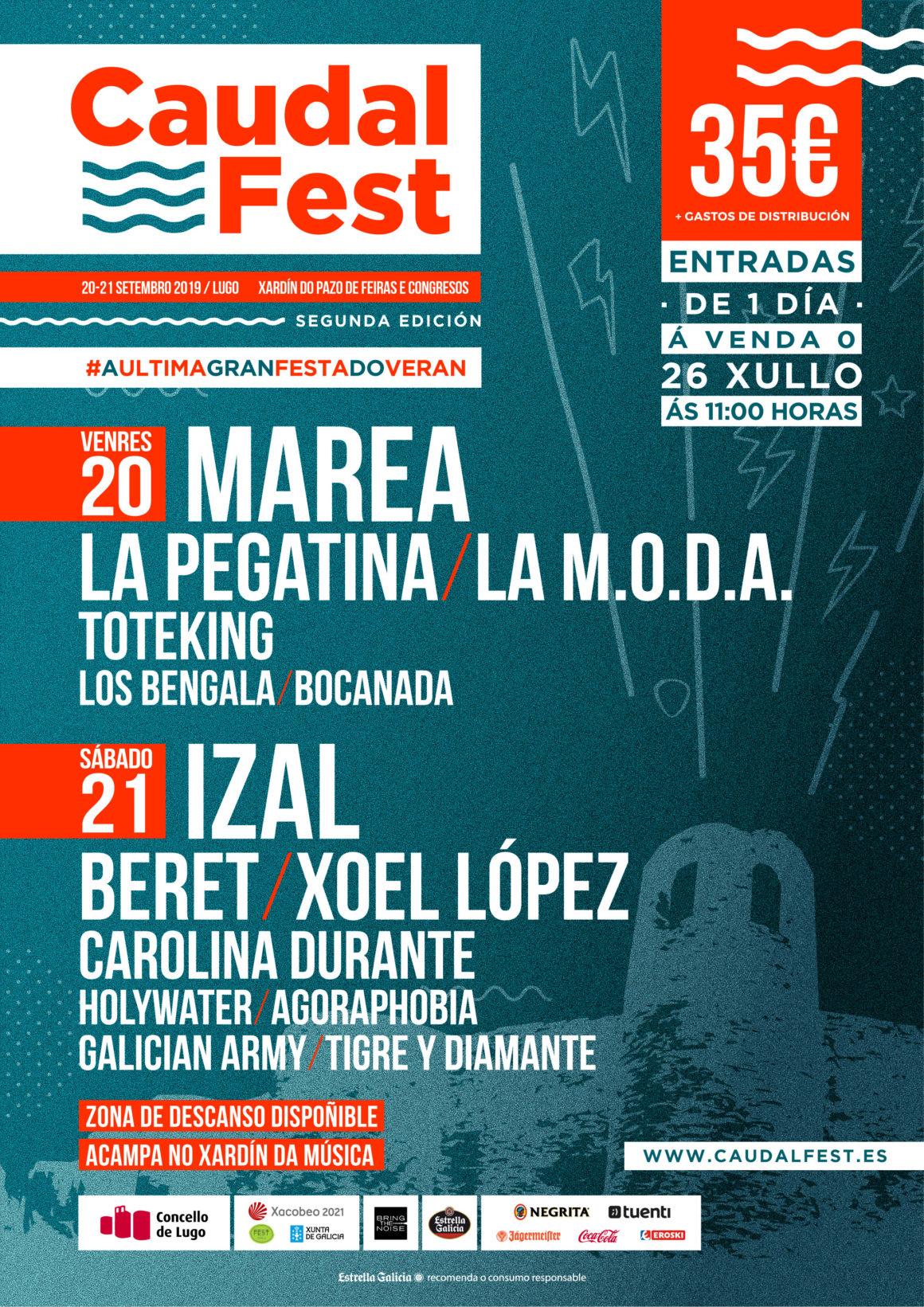 Cartel y entradas por días del Caudal Fest 2019