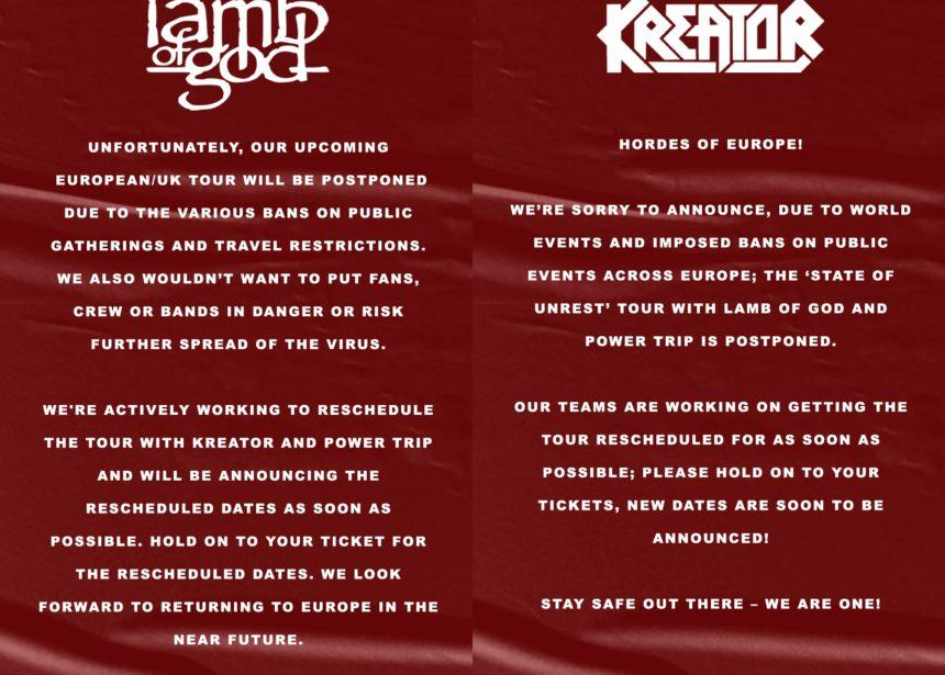 Aplazada la gira de Lamb of God y Kreator