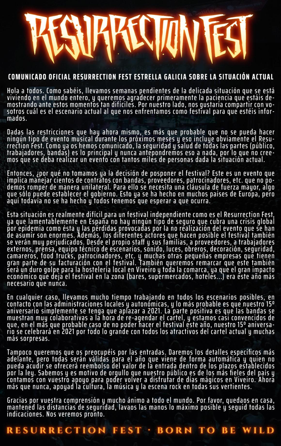 Comunicado oficial del Resurrection Fest Estrella Galicia sobre la situación actual