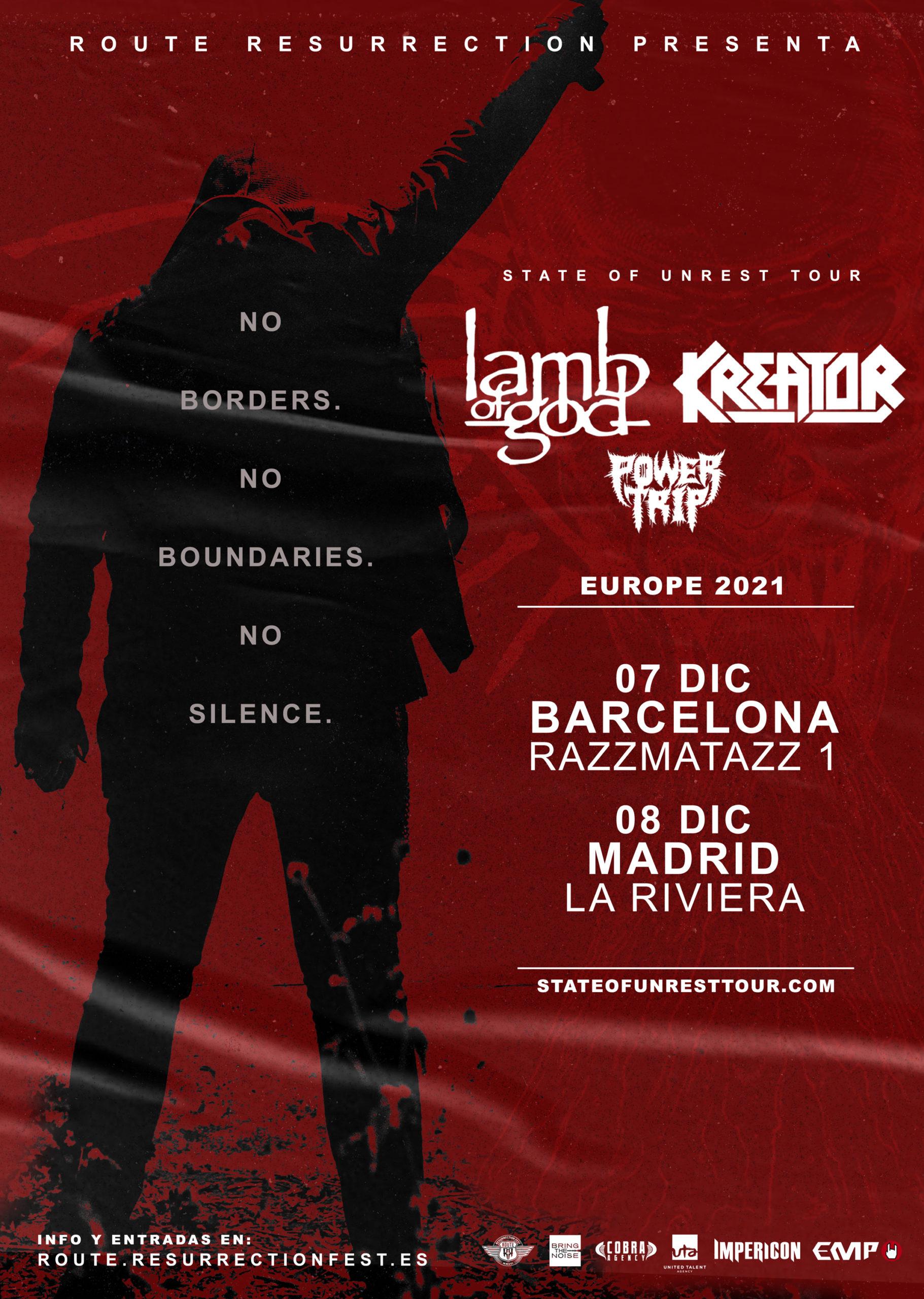 Route Resurrection 2021: Lamb of God y Kreator (Madrid)