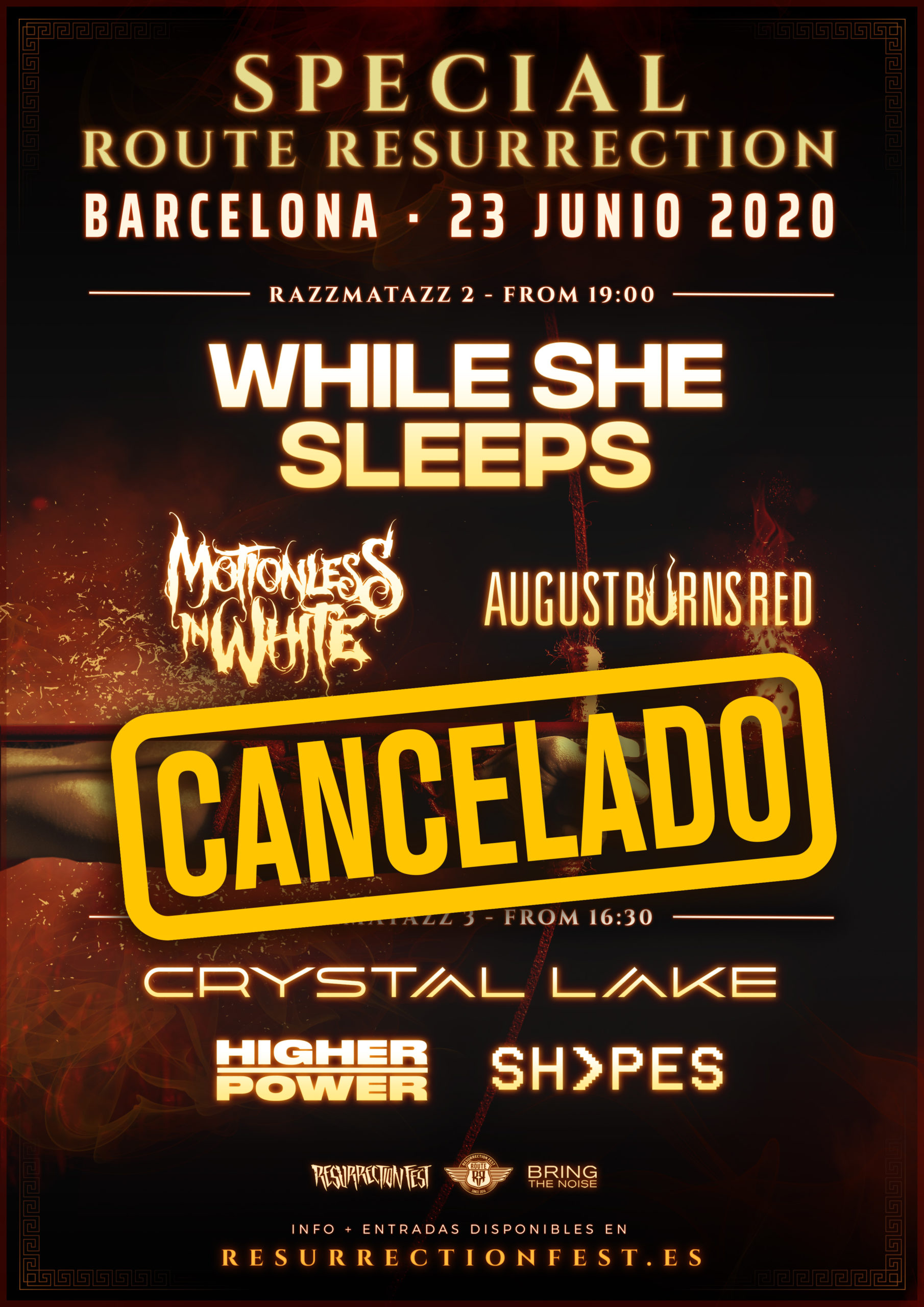Special Route Resurrection Barcelona 2020 (While She Sleeps, Motionless In White, August Burns Red, Crystal Lake…)