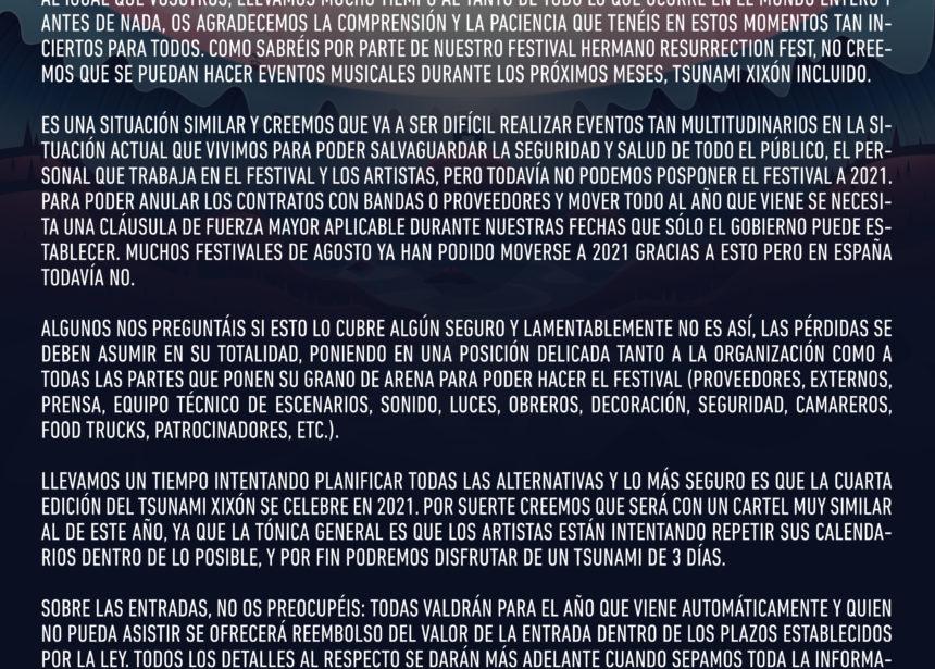 Comunicado oficial del Tsunami Xixón respecto a la situación actual