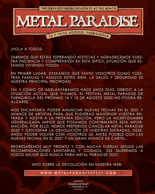 Comunicado oficial del Metal Paradise: se cancela la edición de 2020