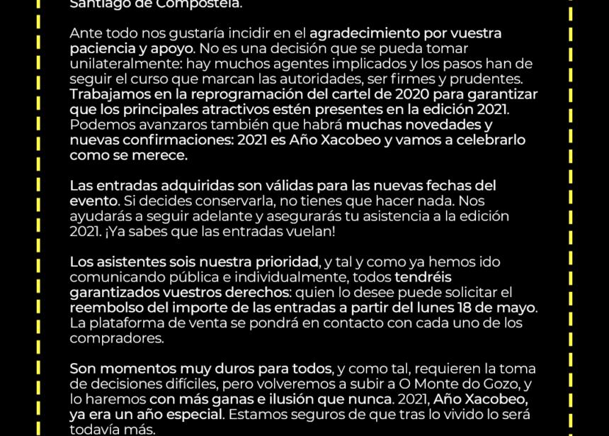 Comunicado oficial de O Son do Camiño: se aplaza a 2021