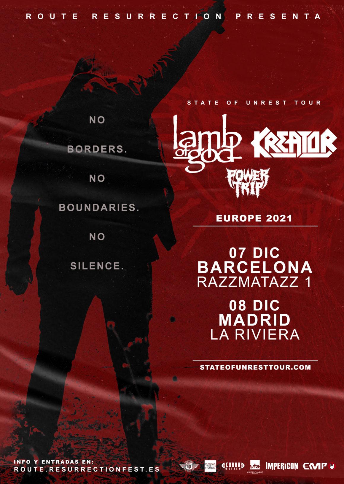 Anunciadas las nuevas fechas de la gira de Lamb of God y Kreator para 2021