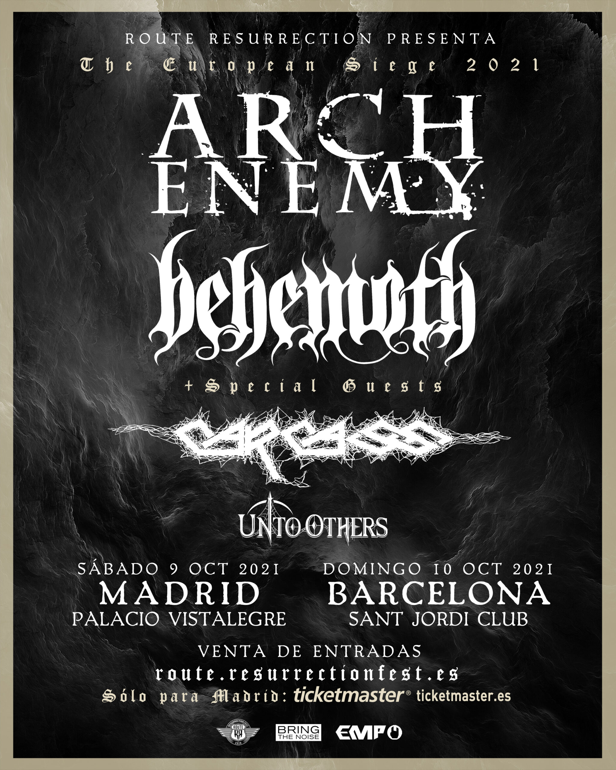 Route Resurrection 2021: Arch Enemy + Behemoth con Carcass (Madrid)