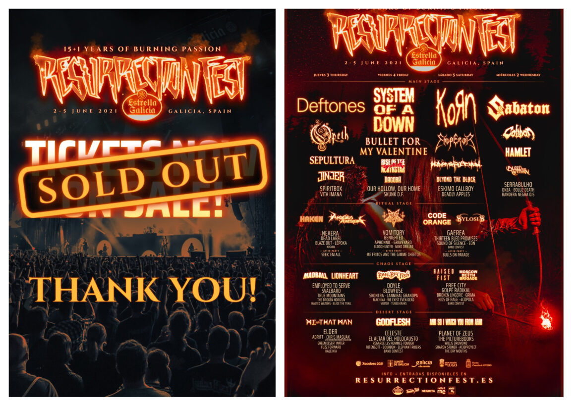 Tickets for Resurrection Fest Estrella Galicia 2021 sold-out, thank you!