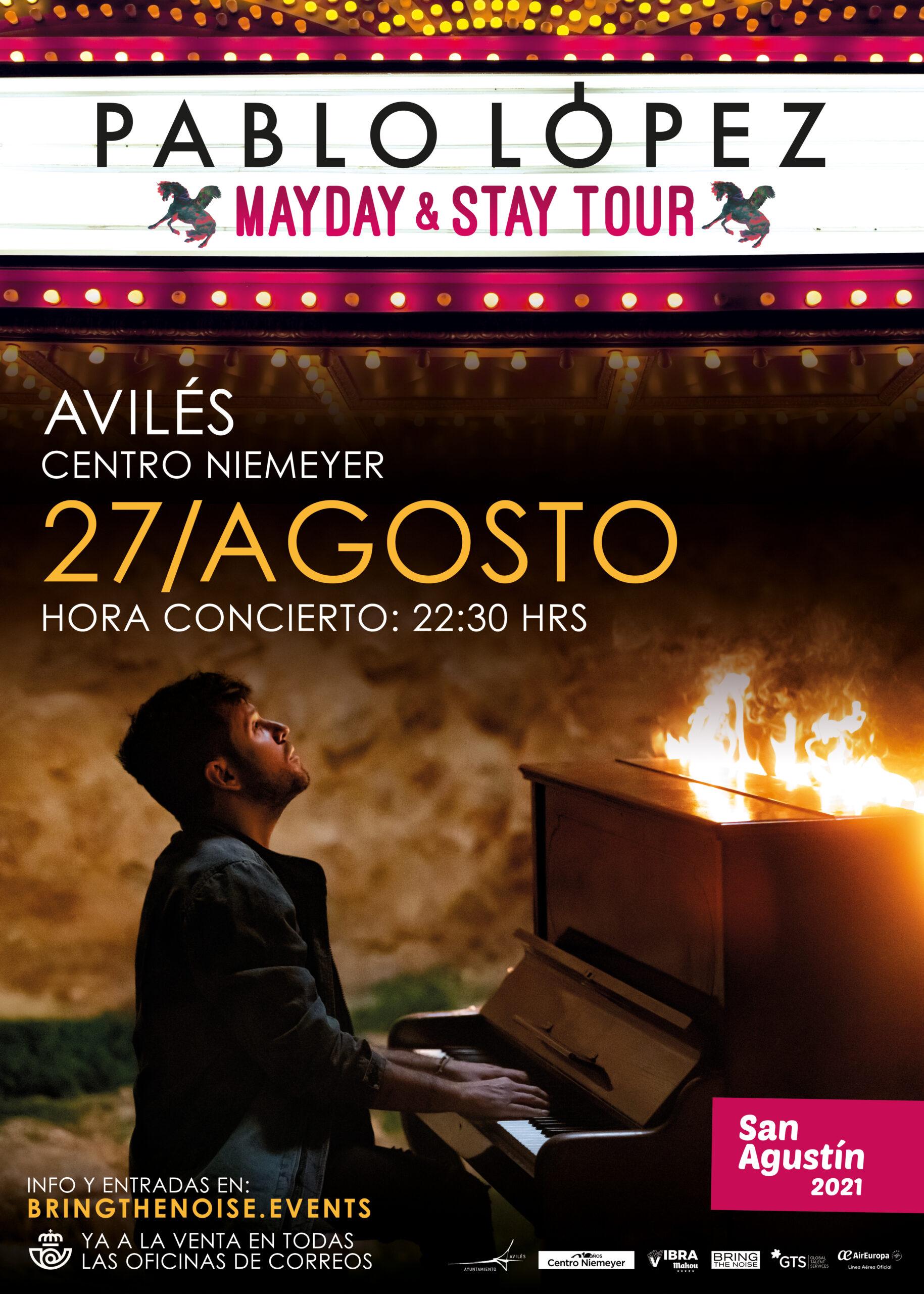Pablo López actuará el 27 de agosto de este año en Avilés en el Centro Niemeyer