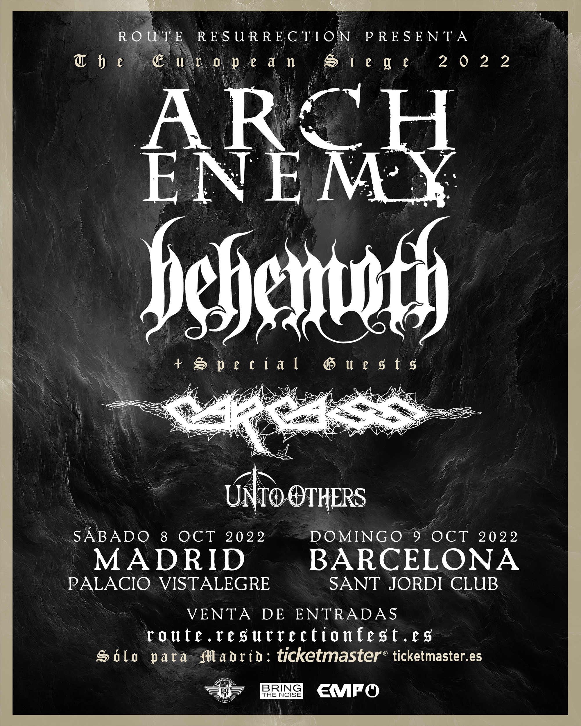 Route Resurrection 2022: Arch Enemy + Behemoth con Carcass (Madrid)